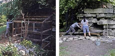 23 1992 : Démontage de la cabane de jardinier et consolidation par les blocs de pierre