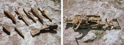 05 1993 Outils retrouvés à la basse du puits : pics et crics.