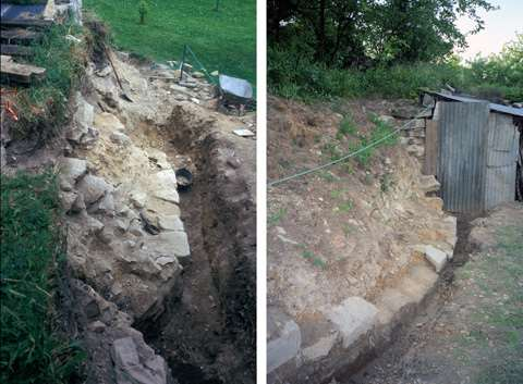16 1999 Base du mur primitif entourant le puits (faces Est et Sud)